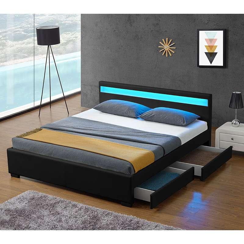 Polsterbett mit Bettkasten 140 x 200 cm schwarz Bett Kunstlederbett Einzelbett JU28962, € 199 ...