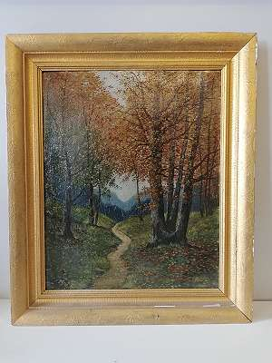 Schmaler Waldweg im Herbst