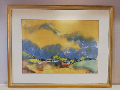 Landschaft mit Gelb-Blauem Himmel, Aquarell auf Stoff