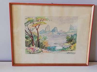 Ansicht von Rio mit Bergen, Aquarell