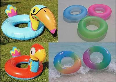 Neue aufblasbare Schwimmreifen / Schwimmringe mit 90 cm Durchmesser (Regenbogen, Neon, Papagei, Tukan)