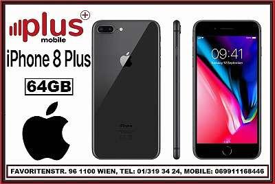 IPHONE 8 PLUS 64GB SCHWARZ, NEU`wertig´, REFURBISHED, WERKSOFFEN, GARANTIE, PLUS MOBILE !