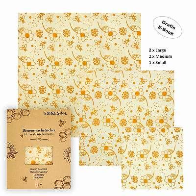 Julzin – Bienenwachstücher , 5 Stück (2x L, 2x M, 1x S)
