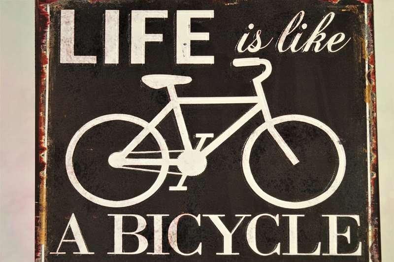 Metallschild - Life is like a Bicycle in order to keep your balance you must keep moving Albert Einstein Geschenk Mitbringsel Ermutigung neuer Lebensabschnitt Veränderung Spruch Affirmation Weisheit Fahrrad Rad Bike