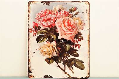 Metallschild im Retrolook – Schild Plakette Blech Bild Wand Deko Behang Rosen Blumen Garten Style Mitbringsel Geschenk Gast Deko