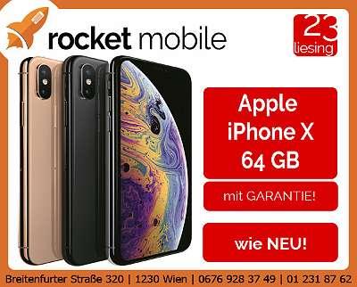 Apple iPhone X 64GB - AUSTAUSCHGERÄT / AUSSTELLER / Werksoffen - frei für alle Simkarten - mit Garantie - RocketMobile Liesing - Breitenfurter Straße 320, 1230 Wien