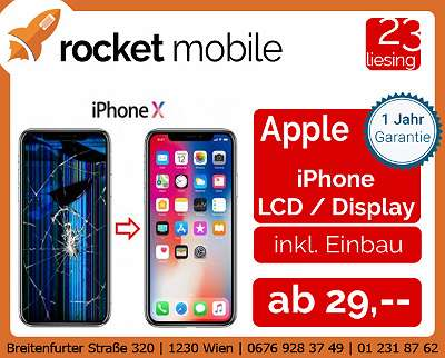 REPARATUR - Apple iPhone - LCD - Tausch - 12 mini, 12, 12 Pro, 12 Pro Max, 11, 11 Pro, 11 Pro Max, XS, XS Max, XR, 8, 8 Plus, 7, 7 Plus, 6, 6 Plus, SE, 5S, 5 - RocketMobile Liesing - Breitenfurter Straße 320, 1230 Wien