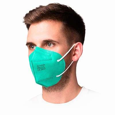 5 Stück - Atemschutzmaske - FFP2 NR - CE Zertifiziert - Grün