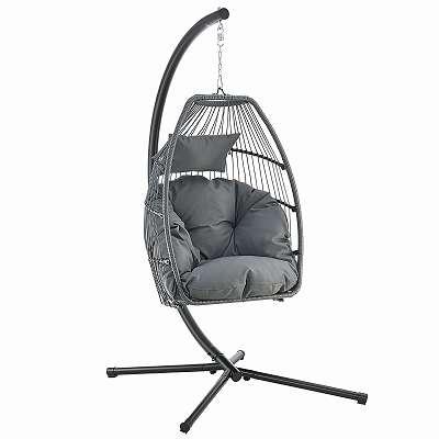 Hängesessel schwarz / grau Hängeschaukel Hängekorb Schaukelstuhl Stuhl Stuhl Indoor Wohnzimmerschaukel JU51413