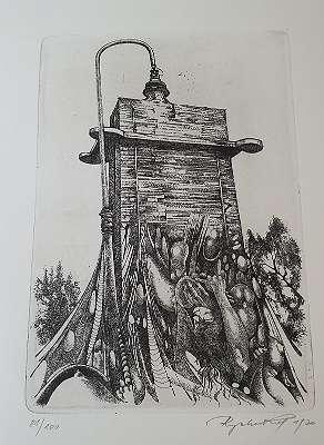 Kurt Regschek Radierung Flakturm im Eszterhazypark