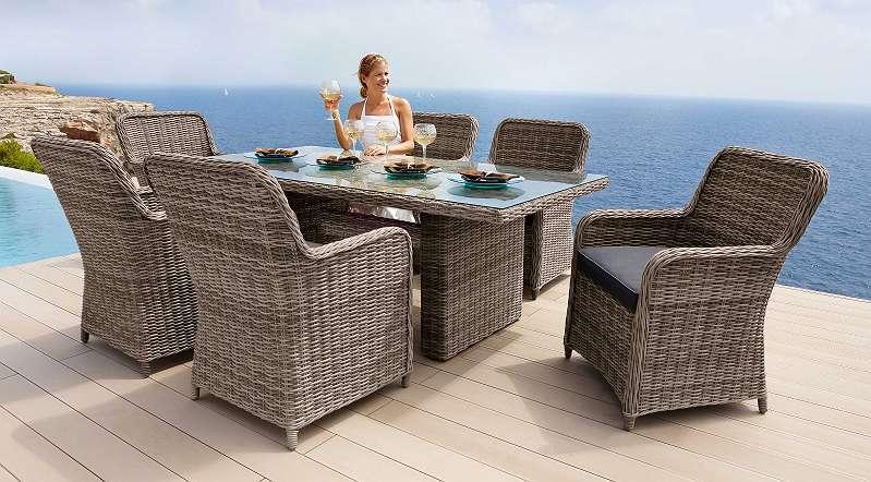 Abverkauf °Austellungsstück° Gartenmöbel Gartengruppe Tisch Stühle Rattan  Auflagen Grau 13tlg NG Rundrattan Model Korsika