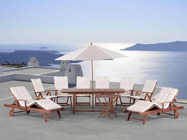 Gartenmöbel Set aus Holz  Tisch eckig  6x Stuhl  2x Liege