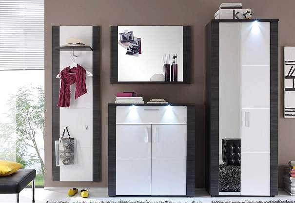 aktion garderobe set xpress grau wei schuhschrank kleiderschrank flurgarderobe led 399. Black Bedroom Furniture Sets. Home Design Ideas