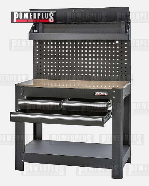 Werkbank mit schubladen und lochwand schwarz 114 x 63 5 x for Arbeitsplatte 63 5 cm tief