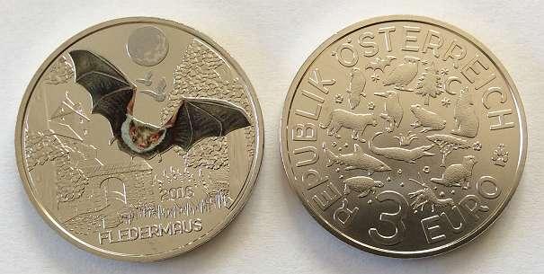 3 Euro Münze Tier Taler Fledermaus österreich 2016 Vom Fachhändler