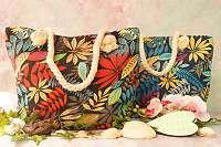 2 Modelle! Geniale, robuste Tasche mit weichem Seilgriff – Blätter ROT / Dschungel BLAU