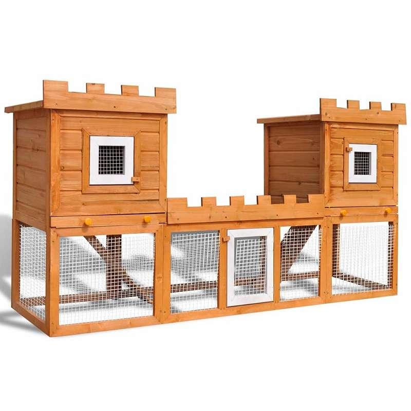 NEU VidaXL Großer Kaninchenstall Kleintierkäfig Doppelhaus