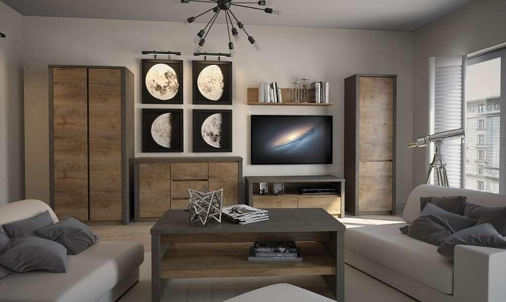 Wohnzimmer Komplett Set C Selun 6 Teilig Farbe Eiche