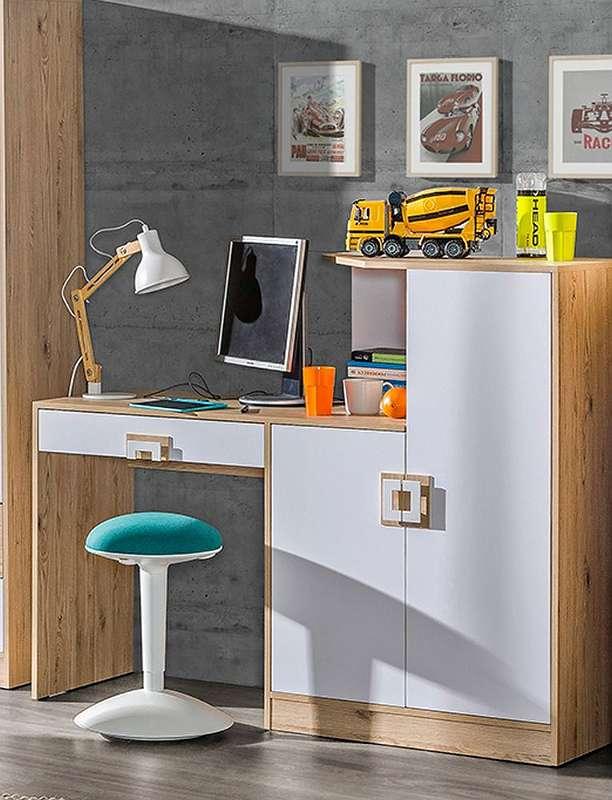 Kinderzimmer Schreibtisch Fabian 11 Farbe Eiche Hellbraun Weiss
