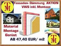 Fassadendämmung - Vollwärmeschutz - Dämmung Ihrer Fassade Komplettpaket ( Material mit Montage und Gerüst)