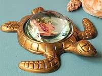 AUSSERGEWÖHNLICHE TISCHLUPE! Geniale Schildkröte aus Messing – ca. 15 x 16 cm