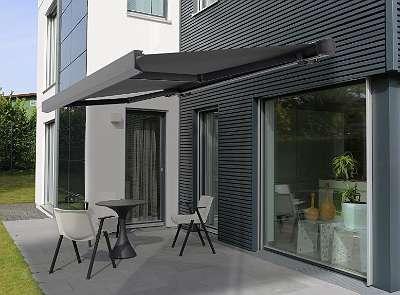 Vollkassettenmarkise 450 / 300 cm anthrazit Sonnenschutz Gelenkarmmarkise elektronische Markise Terrasse mit Motor mit Funkfernbedienung VASP1310