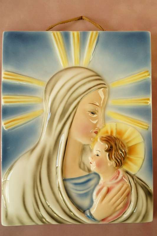 Art Déco Goldscheider Wien Madonna Wandbild Maria Madonna