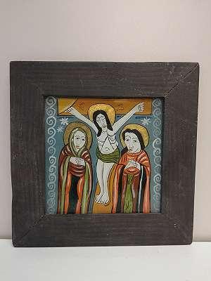 Draga- Irina Popa - Hinterglasbild Christus am Kreuz, Ikone