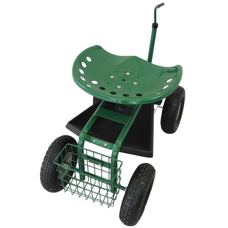 Gartensitz Fahrbarer 150kg Sitzwagen Rollsitz Gartenhelfer Grün Scooter Profi mit Werkzeugfach und Korb 25488