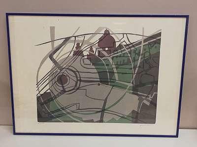 Flugzeugbug, Hubschrauber, Kirche in einem, - Lithographie von Linde Waber