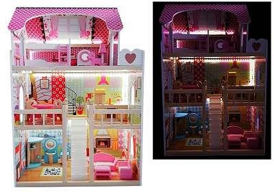 Puppenhaus Barbiehaus mit led Beleuchtung neu Original verpackt