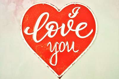 Metallschild - I Love You Geschenk Mitbringsel Spruch Ich liebe Dich Liebe Amor Hochzeitstag Jahrestag