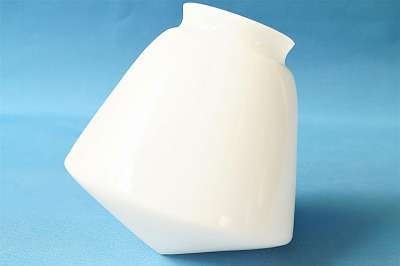 Neu! Lampenschirm aus Glas im genialen Vintage-Design Lampe Leuchte Leuchter Luster Glas Schirm Trichter weiß