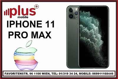 IPHONE 11 PRO MAX 64GB NACHT GRÜN, OVP, NEU, WERKSOFFEN, EU-WARE, VOLLE HERSTELLER GARANTIE, PLUS MOBILE !