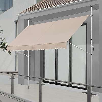 JOIN-SHOP Klemmmarkise 300 x 120 cm beige Markise Sonnenschutz Balkonmarkise Schutz JU300442