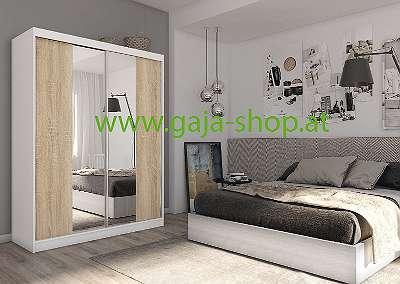 Neuer Kleiderschrank 160 cm Weiß Sonoma mit Spiegel