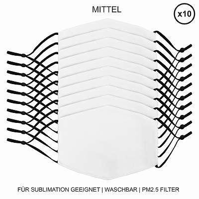 10 Stück mittelgroße Gesichtsmasken für den Sublimationsdruck Mund- Nasenbedeckung Stoffmaske Blanko Maske zum Bedrucken waschbar Mund-Nasenschutz Mundbedeckung Face Mask Medium 27382