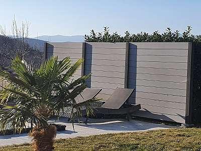 ALU-HOLZ Zaun-Pfosten mit WPC-Zaunelementen - AKTIONSPREIS für Restmengen