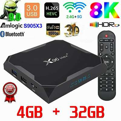 X96 MAX+ Android 9.0 TV Box 4GB+32GB Amlogic S905X3 5Ghz Dual WIFI HDMI EU