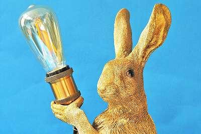 Exquisites Design! Geniale, große Hasenlampe – Höhe ca. 47 cm / Kaninchen Karnickel Lampe Leuchte Licht Steh Bodensteh Gold Meister Lampe