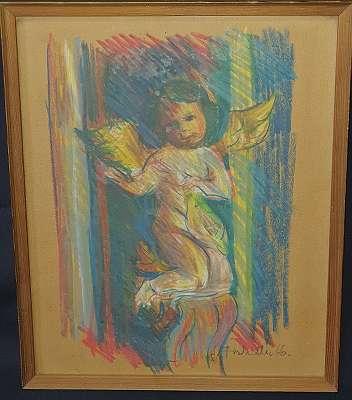 Engel Pastellkreide von Josef Fischnaller