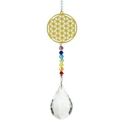 Kristalltropfen mit Chakrakette Blume des Lebens