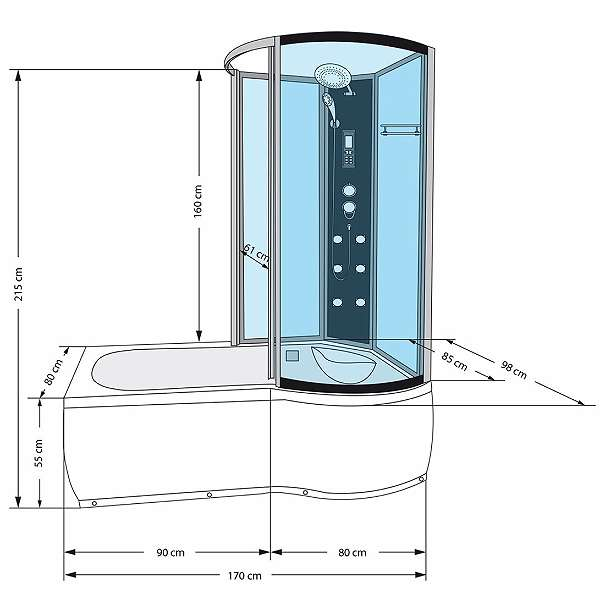 wanne duschtempel badewanne duschkabine 170x98. Black Bedroom Furniture Sets. Home Design Ideas