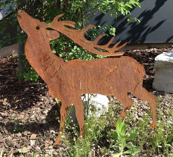 Gartendeko metallfigur hirsch klein rostig neu 25 for Gartendeko aus rostigem stahl