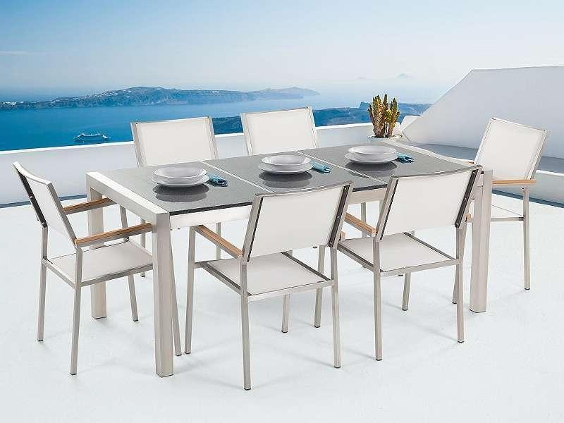 Gartenmöbel Set Granit grau poliert 180 x 90 cm 6-Sitzer Stühle ...