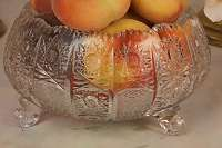 GLITZERT & FUNKELT! Reich geschliffene Kristallschale Schüssel Obst Aufsatz Anbietschale Tafel Glas Geschirr Service
