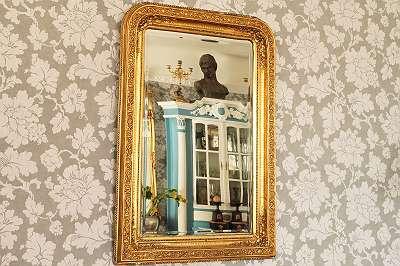 Sehenswert! Antiker Spiegel im perfekten Brocante-Stil Shabby Salon Wohnzimmer Gang Entree Antik