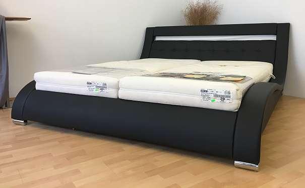 polsterbett doppelbett bett schwarz inkl led. Black Bedroom Furniture Sets. Home Design Ideas