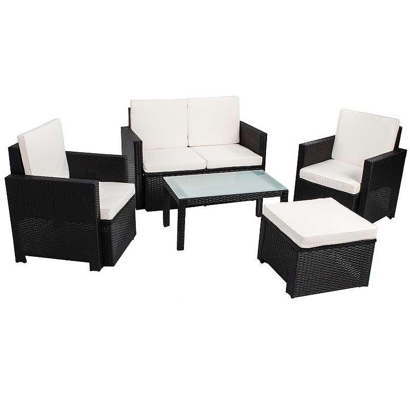 Polyrattan Gartenmöbel Sitzgruppe für 4 Personen 5 teilig in schwarz ...
