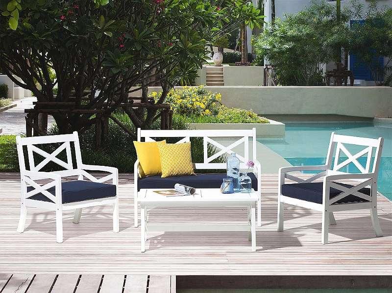 Gartenmobel Set Holz Weiss 4 Sitzer Auflagen Blau Baltic 889 99